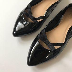 Lane Bryant black patent pointy bow flats